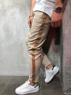 Checkered Ankle Pants with Side Stripes - Orange . : Checkered Ankle Pants with Side Stripes - Orange . Big Men Fashion, Best Mens Fashion, Fashion Check, Fashion Styles, Men's Fashion, Fashion Rings, Fashion Boots, Men Street, Street Wear