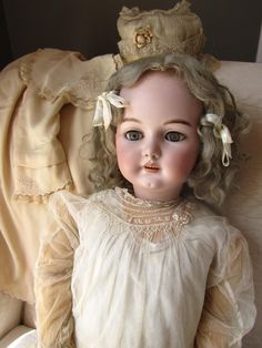 "Large Antique Bisque German Doll Simon Halbig 1079 36"" Beautiful VNTG Clothing 