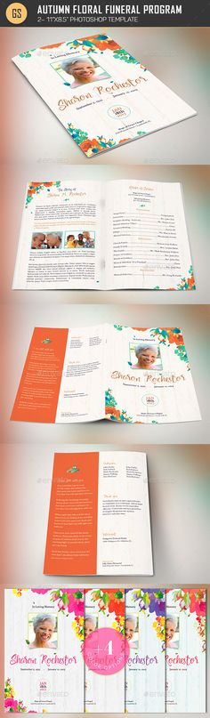Delicate Funeral Program Template  FontsLogosIcons