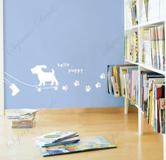 Custom Color PopDecals - Hello puppy - removable vinyl art wall decals murals home decor by PopDecals, http://www.amazon.com/dp/B005O2322W/ref=cm_sw_r_pi_dp_JC9Qrb1T32MPR
