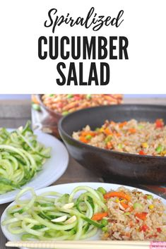 Going vegetarian? This handy Spiralized Cucumber Salad is a great way to add fresh flavor and taste to any vegetarian meal. I paired it with a Chinese Style Vegetable Fried Rice from Ling Ling for a quick and easy vegetarian meal. #LingLingAsianFood #LL #AD #asianfood #chopsticks #easymeals #friedrice via @LttlHouseBigAK