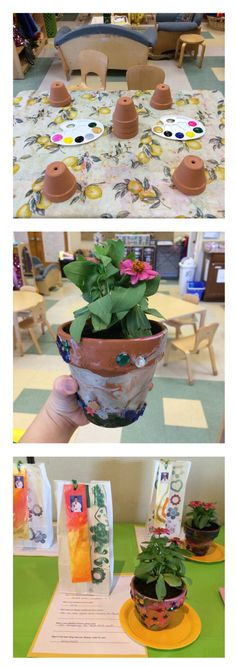 Mother's Day! We painted pots and planted flowers as gifts for our Mother's Day celebration!