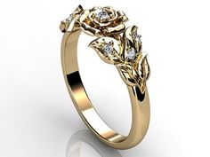 14k yellow gold diamond unusual unique floral engagement ring, bridal ring, wedding ring ER-1059-2.