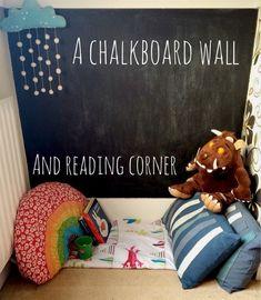 chalkboard wall and toddler reading corner Chalkboard wall and reading corner.Chalkboard wall and reading corner. Montessori Bedroom, Montessori Toddler, Playroom Design, Playroom Ideas, Boys Room Paint Ideas, Toddler Rooms, Toddler Bedroom Ideas, Kids Rooms, Young Boys Bedroom Ideas