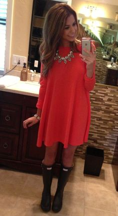 Cute rainy day outfit! | Red Dress + Hunter Rainboots