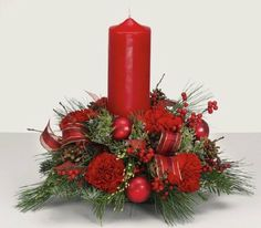 let it glow traditional holiday centerpiece that will light your table . Christmas Flower Arrangements, Christmas Table Centerpieces, Christmas Flowers, Christmas Candles, Christmas Deco, Rustic Christmas, Xmas Decorations, Christmas Holidays, Christmas Wreaths