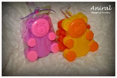 Bear soap with sponge