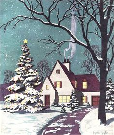 1930s magazine cover art cottage in snow