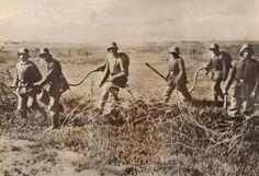 German soldiers armed with flamethrowers WWI