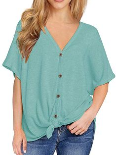 d6468d2db463c IWOLLENCE Womens Loose Henley Blouse Bat Wing Short Sleeve Button Down T Shirts  Tie Front Knot Tops Blue-Green S