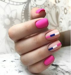Nail art is a very popular trend these days and every woman you meet seems to have beautiful nails. It used to be that women would just go get a manicure or pedicure to get their nails trimmed and shaped with just a few coats of plain nail polish. Pink Nails, My Nails, Matte Nail Polish, Acrylic Nails, Geometric Nail Art, Latest Nail Art, Minimalist Nails, Manicure E Pedicure, Cute Nail Art