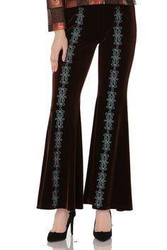 Pantalon catifea cu broderie mano-mecanica
