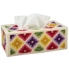 Diamond Jewel Tissue Box Cover Plastic Canvas Kit - Herrschners