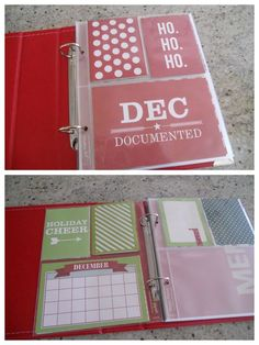 December Daily album created by Lise Harris using our red SN@P! faux leather album and our December Documented collection