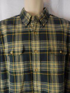 RALPH LAUREN Twill Shirt sz Large blue yellow Plaid Elbow Patch NEW NWT #RalphLauren #ButtonFront