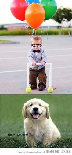 Such an adorable idea for halloween, problem is I don't have a small little boy or puppy... but its cute! Love UP!