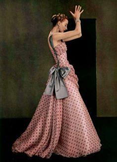 Madame Gres, Spring 1953 50s designer couture dress long gown pint dots blue satin sash color photo model print ad magazine