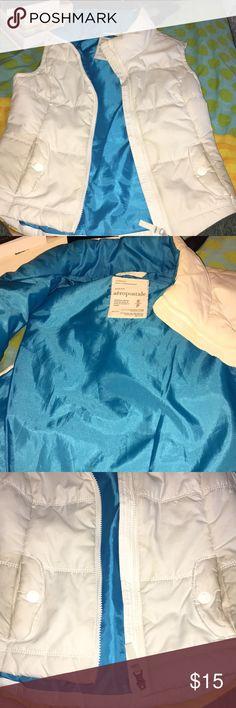 White vest with blue lining Super cute vest Aeropostale Jackets & Coats Vests