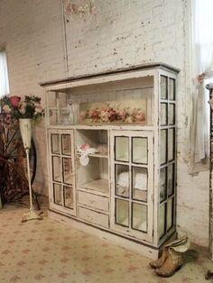 Farmhouse Cabinet Repurposed Windows - The Painted Cotttage via KnickofTime