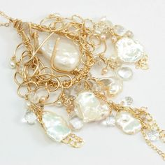 Baroque Pearls, Keishi Pearls, White Topaz, and Gold Statement Necklace #jewelry #handmade #gemstone
