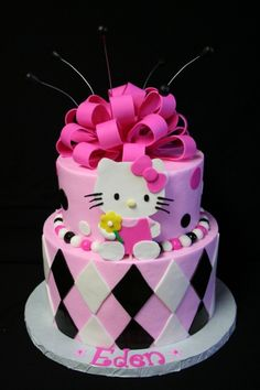 Hello Kitty Cake Picture from Cakes. Pink, White, And Black Hello Kitty Cake Torta Hello Kitty, Hello Kitty Birthday Cake, Fancy Cakes, Cute Cakes, Pretty Cakes, Checkered Cake, Gateaux Cake, Character Cakes, Cake Pictures