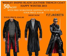 From the blockbuster movie, Blade, Fit Jackets present this astonishing Wesley Snipes leather trench coat, made in perfect length. A great attire winter season, clubs, social gathering and Valentine wear. Order your coat today!  #winterseason #LeatherJacket #HolidayDeal #LeatherOutfit #Blade #WesleySnipes #MensCoat #MovieJacket #Fashion #MensOutfit #MensFashion
