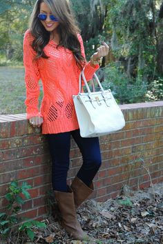 Kind Of Everything Sweater: Coral - $37.99
