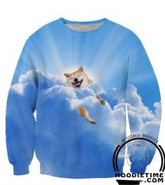 Shiba Inu Clouds Dog T-Shirt - Printed T-Shirts Clothing