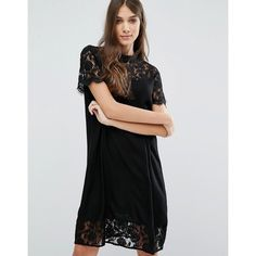 Vila High Neck Lace Dress ($48) ❤ liked on Polyvore featuring dresses, black, high neck cocktail dress, lace dress, lace cocktail dress, vila dress and lace trim dress