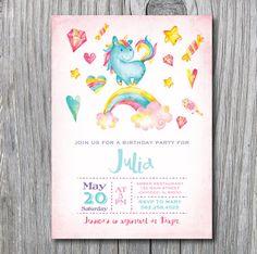 Unicorn Rainbow Birthday Party invitation  invite by irinisdesign
