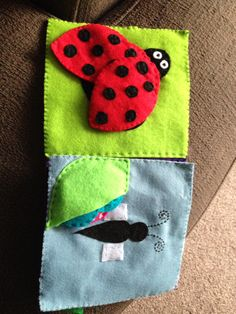 Crinkly ladybird and butterfly wings quiet book pages