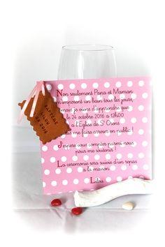 Faire-part biscuit personnalisé, rose pois blanc fill  modèle dépose avril 2014, toute reproduction interdite.