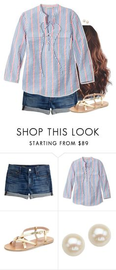 """Seersucker top"" by aweaver-2 on Polyvore featuring J.Crew, L.L.Bean, Ancient Greek Sandals and Honora"