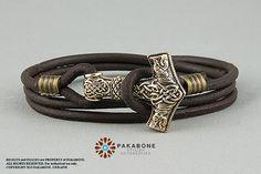 Herren Männer Leder-Armband Armreif Lederarmband Thors Hammer Thorshammer Biker