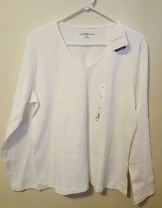 NWT Women's Croft & Barrow White Long Sleeve V-Neck Top Size XL #150 in Clothing, Shoes & Accessories, Women's Clothing, Tops & Blouses | eBay