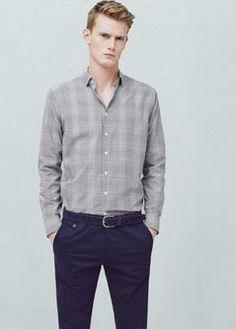 Camisa slim-fit algodón cuadros