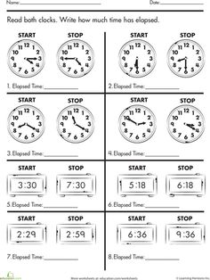 Printables Elapsed Time Worksheets math words and activities on pinterest worksheets calculate elapsed time