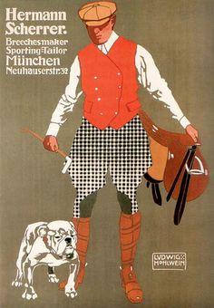 Hermann Scherrer sportswear (c.1907)  Artist : Ludwig Hohlwein  (Germany 1874-1949).