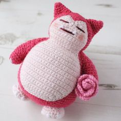 Adorable Snorkax free crochet amigurumi pattern - instructions for the regular Snorlax and a Valentines Snorlax.