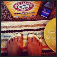 Toenail whitener! Mix peroxide and baking soda into a paste and let it sit on your nails for 5 minutes. White nails! A side of life!