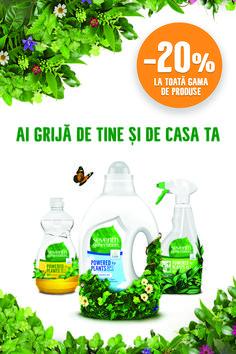 Bucură-te de curățenie cu puterea plantelor cu 20% discount.