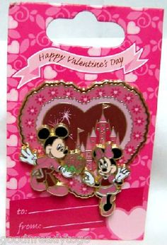 Disney Mickey Mouse And Minnie Mouse In Front Of Castle Happy Valentine& Day Heart-Shaped Pin On Gift Card New Disney Valentines, Valentines Day Hearts, Valentine Crafts, Disney Trading Pins, Disney Pins, Disney Stuff, Disney Mickey Mouse, Minnie Mouse, Disney Merchandise