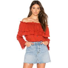 Endless Rose Flared Off The Shoulder Top ($70) ❤ liked on Polyvore featuring tops, blouses, fashion tops, rayon blouses, elastic top, red top, red blouse and rayon tops