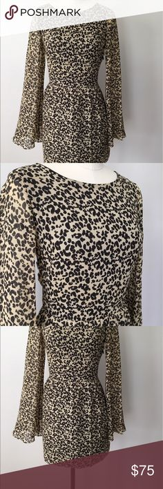 Dolce Vita Animal Print Dress with Bell Sleeves Dolce Vita Animal Print Dress with Bell Sleeves. Seamless side zipper with back tie neck. Never worn. NO TRADES 🚫 Dolce Vita Dresses Mini