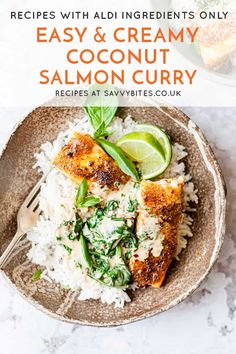 Make Easy Creamy Coconut Salmon Curry In 30 Minutes - Savvy Bites Easy Meal Prep, Quick Meals, Simple Meals, Healthy Dinners, Healthy Foods, Healthy Eating, Aldi Recipes, Recipies, Cooking Recipes