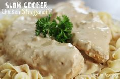 ~ Chicken Stroganoff~ 6 boneless, skinless chicken breasts; 12 oz sour cream; 1 (2 oz) packet dry onion soup mix; 1 (10.75 oz) can cream of mushroom soup; 12 oz wide egg noodles