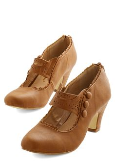 Scallop and At 'Em Heel in Cognac - Mid, Faux Leather, Tan, Solid, Buttons, Scallops, Party, Work, Vintage Inspired, 20s, Good, Mary Jane, Variation
