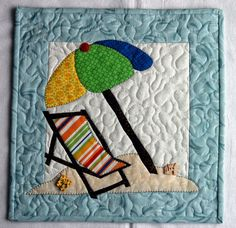 Handcrafted Appliqued Wall Hanging SUMMER BEACH CHAIR UMBRELLA FLIP FLOP CASTLE #Handmade $35