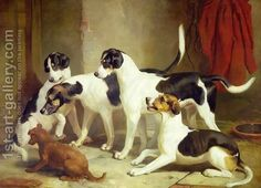 Portrait of Favorite Foxhounds by Thomas Woodward