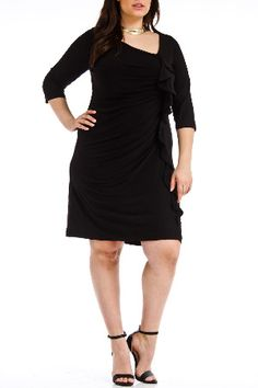 Christine V Erika Ruffle Dress in Black